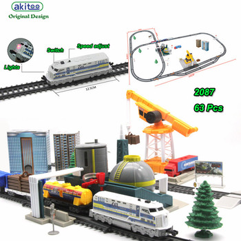 akitoo 1027 Electric light rail car package full length 670cm simulation refinery crane model play early education toys gift