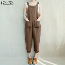 3bdd67afcd 2018 ZANZEA Women Summer Sleeveless Strappy Solid Loose Turnip Rompers  Overalls Casual Pockets Work Dungarees Jumpsuit