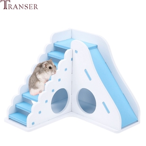 Image 1 - Transer Small Pet Hamster Toys Entertainment Sport House Hamster Wooden Toy Ladder Slide Small Animals Supply 90610