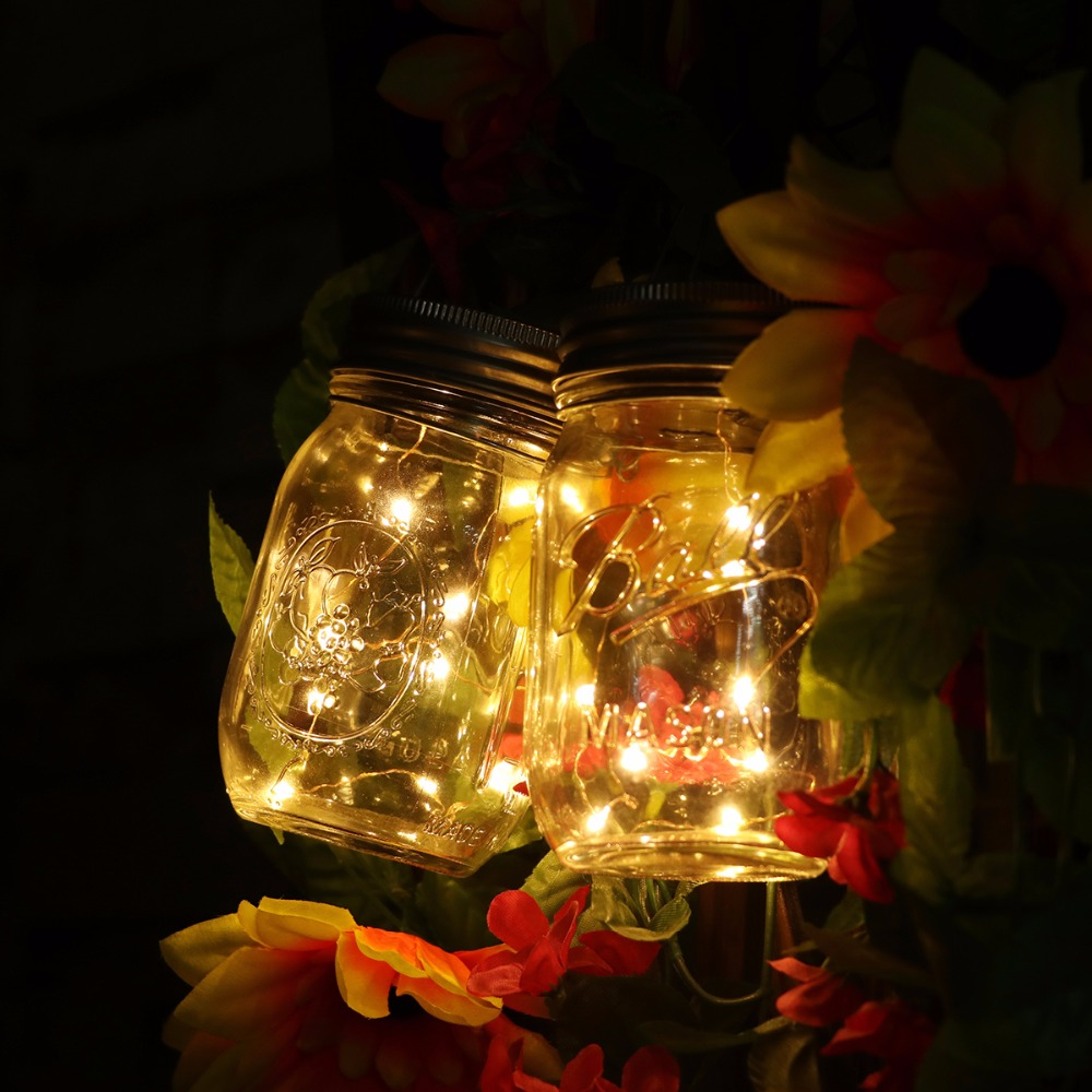 1Pcs Christmas Lights Mason Jar Lid Insert With Yellow LED Light For Wedding Party Garden Xmas ...