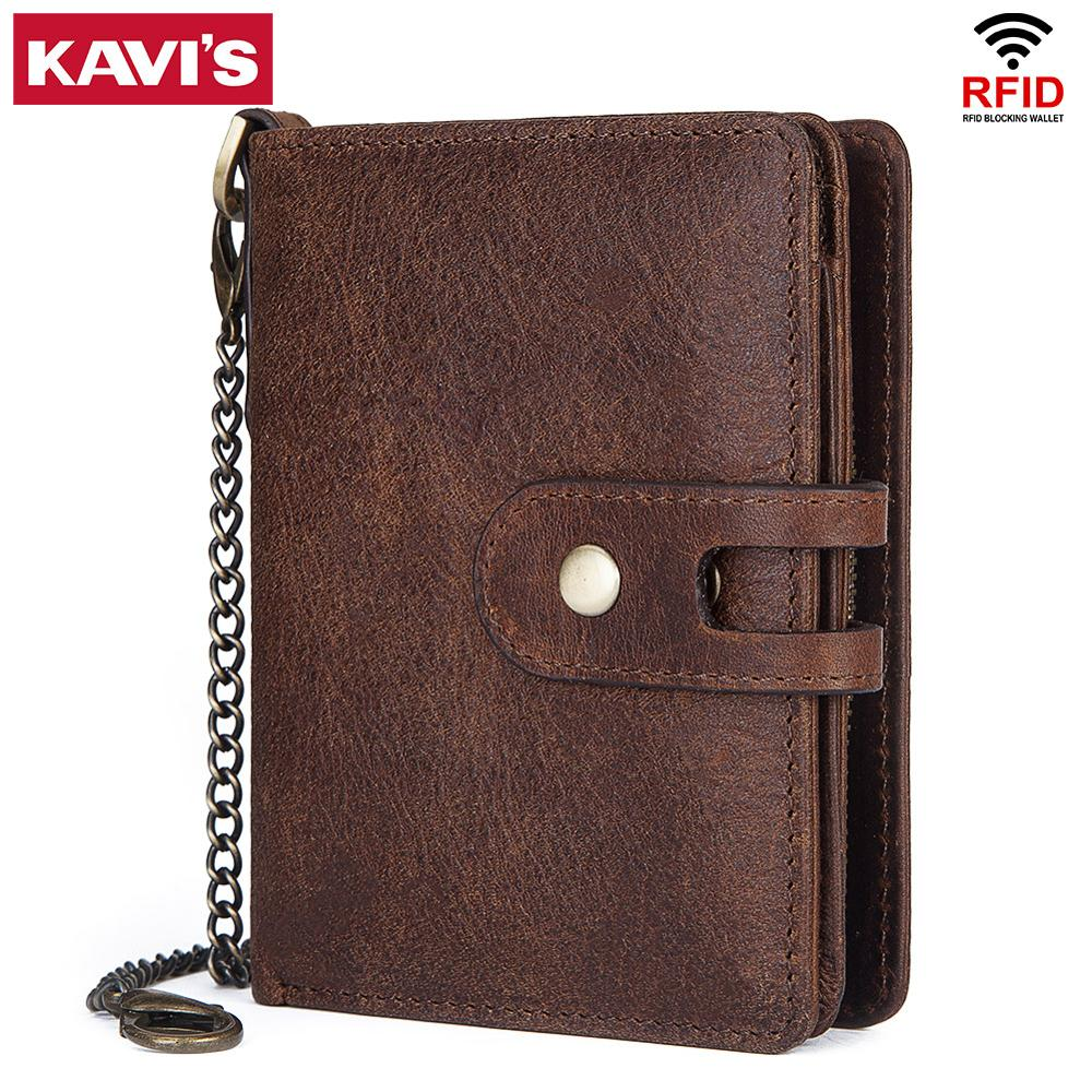 KAVIS 100% Genuine Leather Men Wallet PORTFOLIO Male Purse Small Portomonee Card Holder Mini Hasp Money Bag Chain Brand Quality