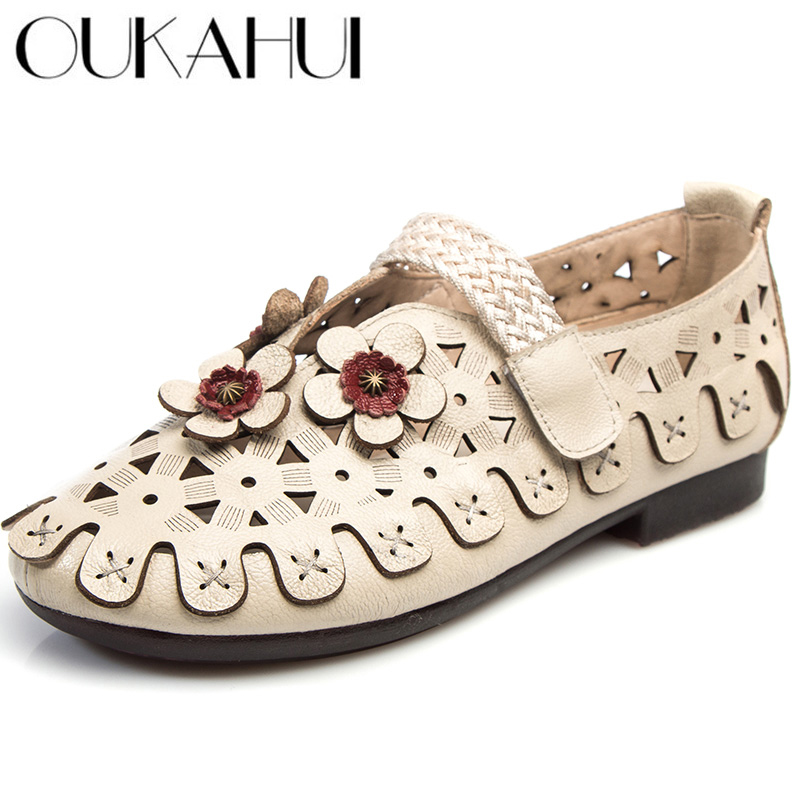 OUKAHUI 2019 Women Flat Comfortable Summer Shoes For Women Genuine Leather With Flower Soft Bottom Breathable Flat Ladies ShoesOUKAHUI 2019 Women Flat Comfortable Summer Shoes For Women Genuine Leather With Flower Soft Bottom Breathable Flat Ladies Shoes