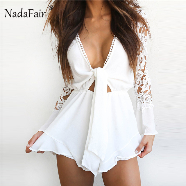 e0f2a7125bb8 Nadafair V Neck Lace Mesh Short Rompers Women Hollow Out Long Sleeve  Playsuits White High Waist Sexy Club Party Playsuit Female