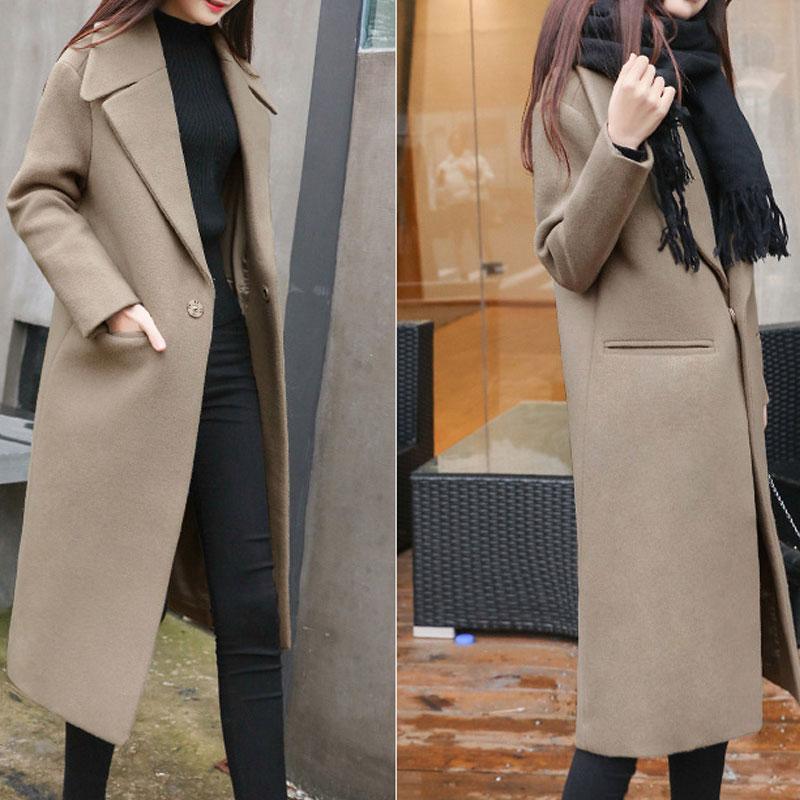 1PC Spring Autumn Women's Wool Coat New Fashion Long Woolen Coat Single Breasted Slim Type Female Autumn Winter Wool Coats 6