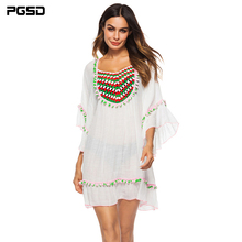 PGSD Simple Fashion Big size Women Clothes Sexy green ball hand hook stitching lotus leaf sleeve Blouse short Dress female