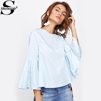 Sheinside Pearl Beading Flare Sleeve Keyhole Back Blouse Blue Round Neck Long Sleeve	Cute Top With Button Female Casual Blouse
