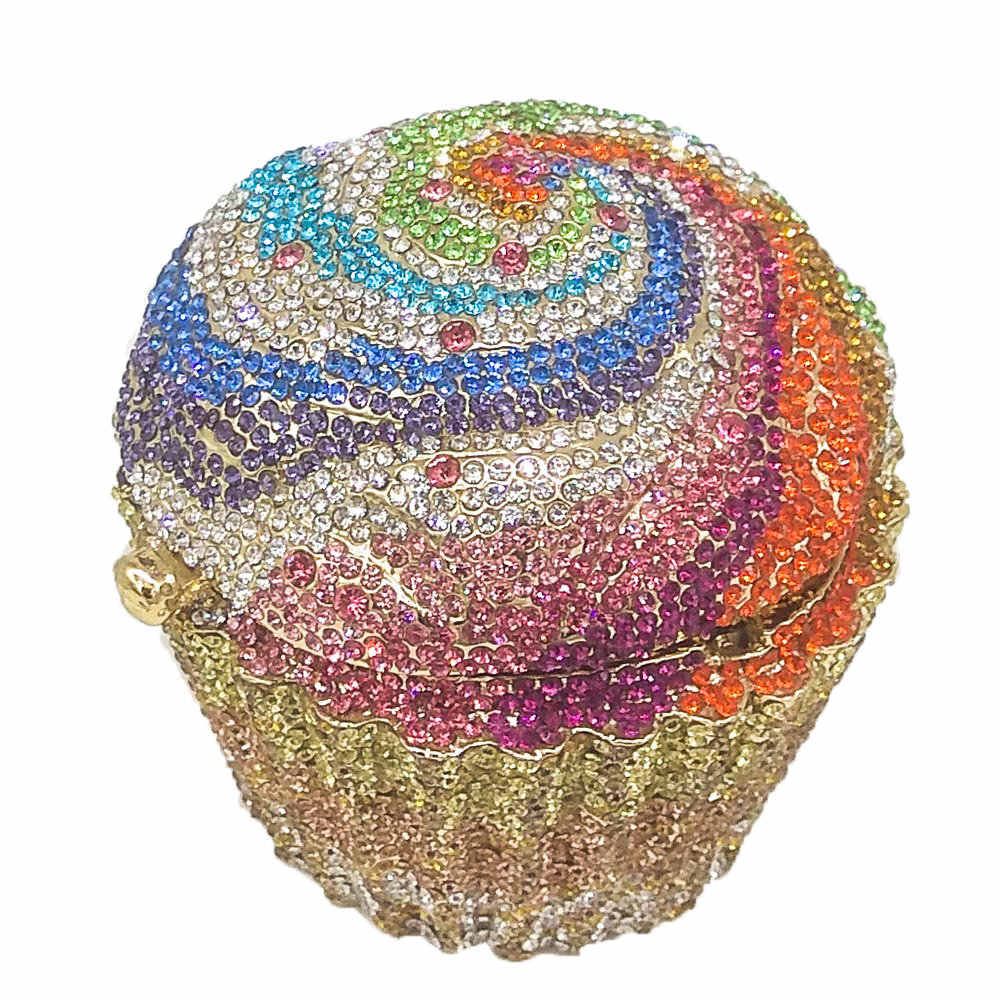 Бутик De FGG Женская мода кекс Кристалл Клатч вечерние сумки Свадебная вечеринка Свадебный с кристаллами Minaudiere сумки-клатчи кошелек
