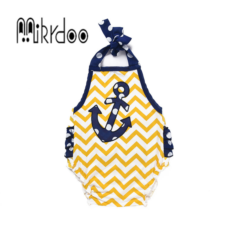 Baby girl clothes Kids strap outfit toddler romper infant jumpsuit strip clothing set cotton anchor sailor loading children suit