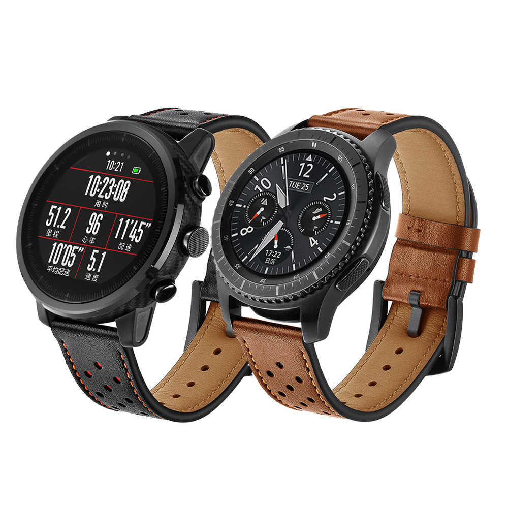 22mm Genuine Leather Strap For Samsung Galaxy Watch Huawei Watch Gt 2 46mm Gear S3 Frontier/Classic Amazfit Pace1 2 Watch Band