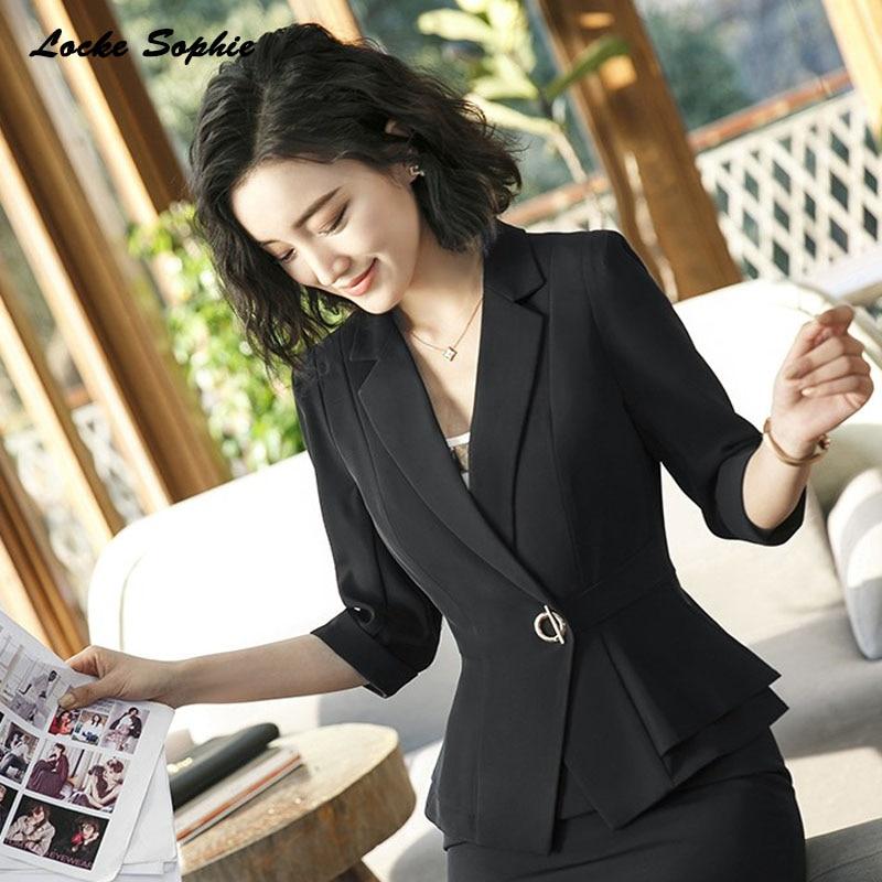 1pcs Womens Blazers Coats 2019 Summer Cotton Splicing Ruffles Small Suits Jackets Ladies Skinny Office Blazers Suits Coats Girls