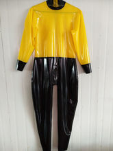 Latex Rubber Unisex Costume Bodysuit Catsuit Jumpsuit Yellow and Black Suit Size XXS-XXL(China)