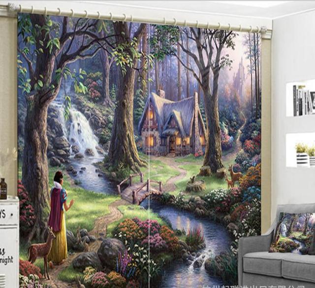 € 10.67 41% de réduction|Fée de bande dessinée en bois maison Rideaux  enfants Chambre 3D Fenêtre Rideaux salon décorer Cortinas Rideaux Rideaux  taie ...