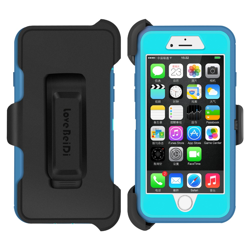 Rugged Combination Case Belt Clip With Built In Screen Protection Film For  Apple Iphone 7
