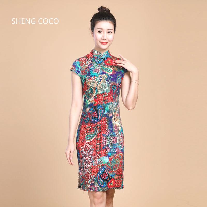 Sheng Coco Women Chinese Qipao Linen Stretch Cheongsam Short Elastic Chinese Style Elegant 5XL 4XL Traditional Dress Colors C281