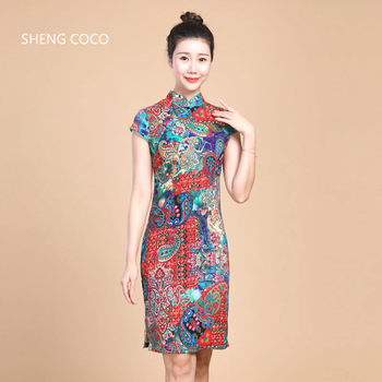 Sheng Coco Women Chinese Qipao Linen Stretch Cheongsam Short Elastic Chinese Style Elegant 5XL 4XL Traditional Dress Colors C281 chinese paper card cmyk color card traditional colors rgb guide manual newbie chinese traditional distinguish colors names