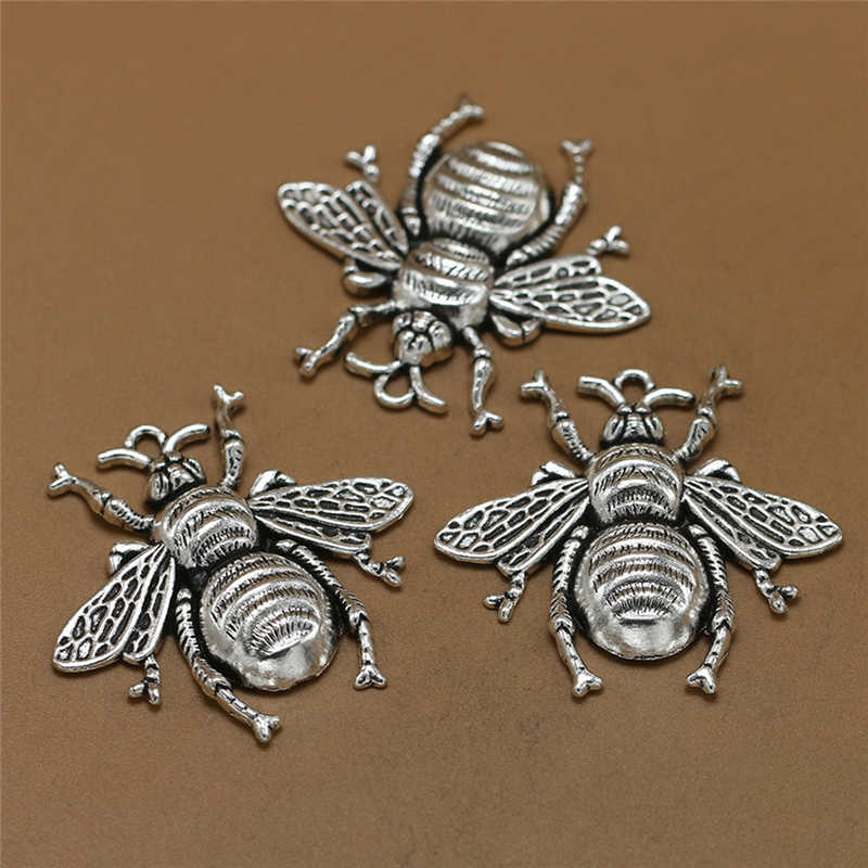 10 cái 40*38 mét Quyến Rũ kim loại ong, Cổ Làm mặt dây chuyền phù hợp, Cổ Điển Tây Tạng Bạc, đồ trang sức TỰ LÀM vòng tay vòng cổ