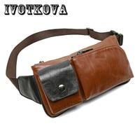 IVOTKOVA Vintage Men Waist Bag High Quality Belt Purse Brand 2017 Male Funny Pack Money Phone