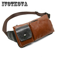 IVOTKOVA Vintage Men Waist Bag High Quality Belt Purse Brand 2017 Male Funny Pack Money Phone
