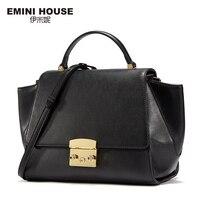 EMINI HOUSE Split Leather Shoulder Bags Contrast Color Trapeze Bag Women Messenger Bag Luxury Handbags Women