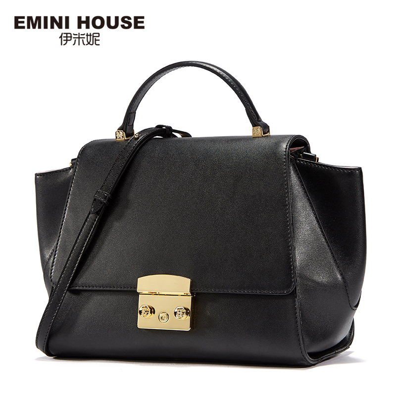 EMINI HOUSE Split Leather Shoulder Bags Contrast Color Trapeze Bag Women Messenger Bag Luxury Handbags Women Bags Designer 2017 fashion all match retro split leather women bag top grade small shoulder bags multilayer mini chain women messenger bags