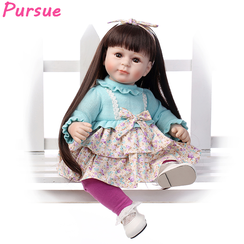 Pursue 20 inch Blue Silicone Reborn Baby Dolls American Girl Princess Doll Toys for Girls Interactive bebes reborns silicona handmade chinese ancient doll tang beauty princess pingyang 1 6 bjd dolls 12 jointed doll toy for girl christmas gift brinquedo