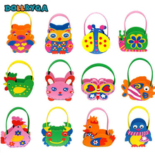 DIY Applique Basket Kids Children Handmade Non-woven Soft EVA Cartoon Animal Flower Basket Craft Art Craft Gift 1PCS DOLLRYGA