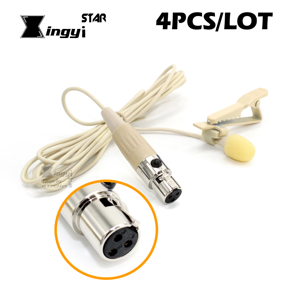 4Pcs Mini XLR 3 Pin TA3F Tie Clip on Mic Lavalier Lapel Microphone Condenser Mikrafon For Karaoke Wireless Bodypack Transmitter