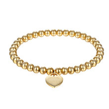 New Fashion Women Party Jewelry Lover Heart Pendant Stainless Steel Elastic rope Bracelet Bead Chain Woman Bracelets Bangles(China)