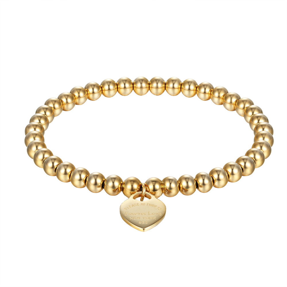 New Fashion Women Party Jewelry Lover Heart Pendant Stainless Steel Elastic rope Bracelet Bead Chain Woman Bracelets Bangles
