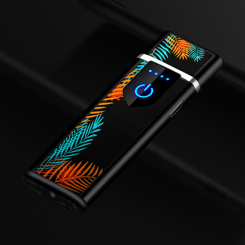 Touch Sensor Ub Charging Lighter Creative Fingerprint Touch Screen Wind-proof Individual Smoke Lighter Ultra-thin