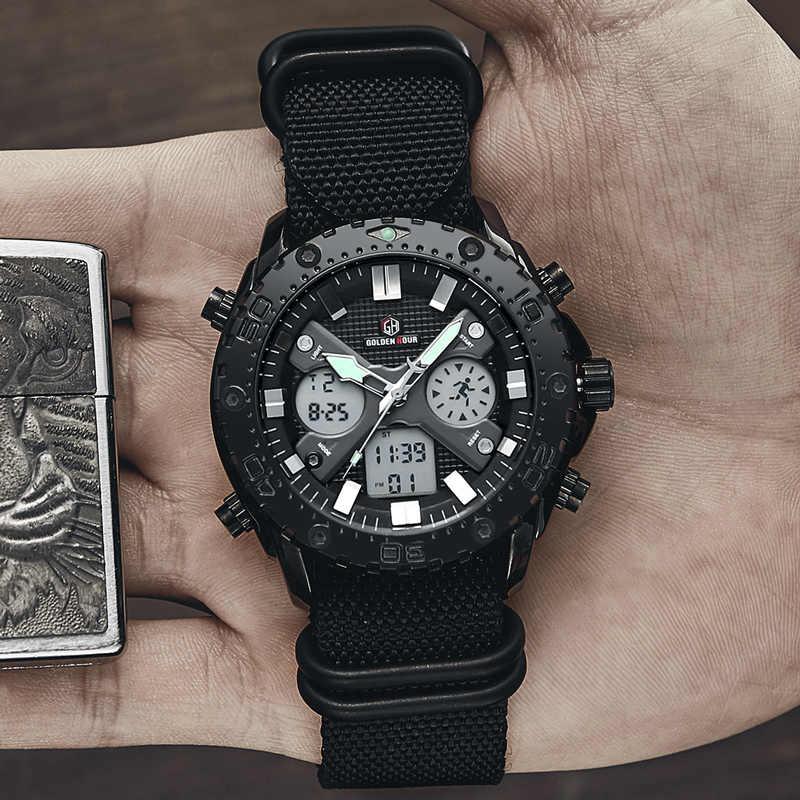 นาฬิกาข้อมือ GOLDENHOUR ผู้ชายแฟชั่นผ้าใบสีดำนาฬิกากลางแจ้งกองทัพทหารแบบอะนาล็อก Quartz ชายนาฬิกา Relogio Masculino