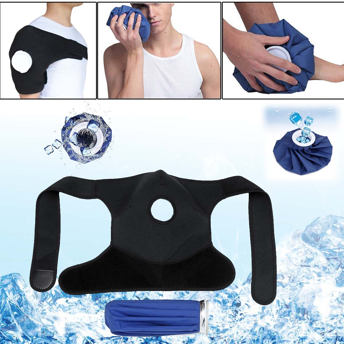 Ice Gel Pack Hot Cold Therapy Wrap Shoulder Injuries Sprains Muscle Joint Pain Blue Black Cloth Fiber Shoulder Relaxing Compress недорго, оригинальная цена