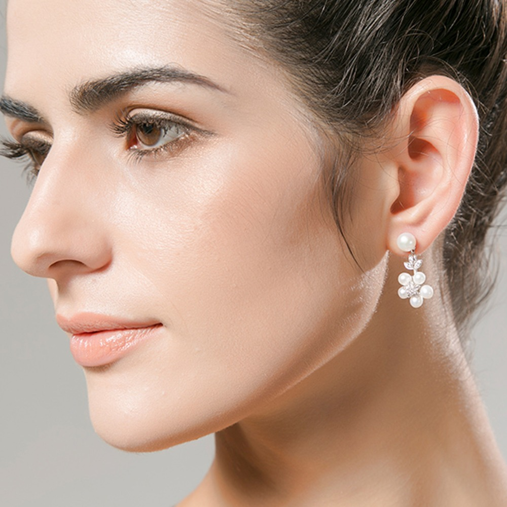 LUOTEEMI Mewah 5 pcs Mutiara Air Tawar Alami Pernyataan Stud Earrings - Perhiasan fashion - Foto 6