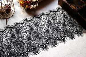 18cm Wide Voile Embroidered White Black Shiny Eyelash Fabric Lace Sewing Applique Wedding Party Decoration