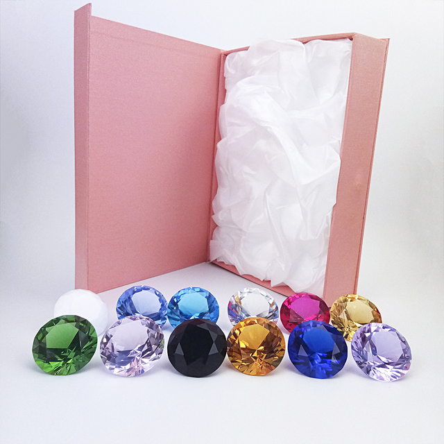 hbl Mixed Color 1pc/10ps 40mm/50mm Crystal Glass Diamond Crystal Paper Weight Christmas Decorations for Home 6