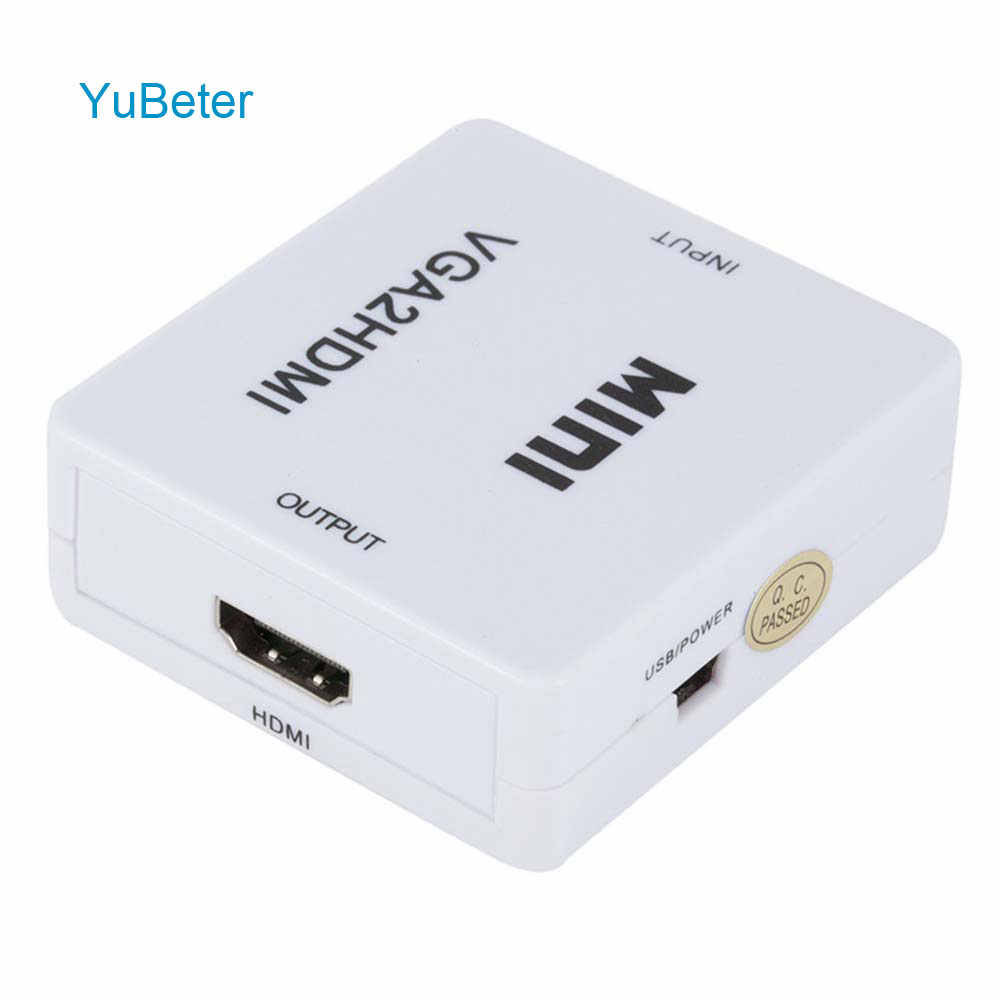 YuBeter 1080P VGA to HDMI Converter With 3.5mm Audio VGA HDMI Adapter Connector For PC Laptop TV Box to HDTV Projector Notebook