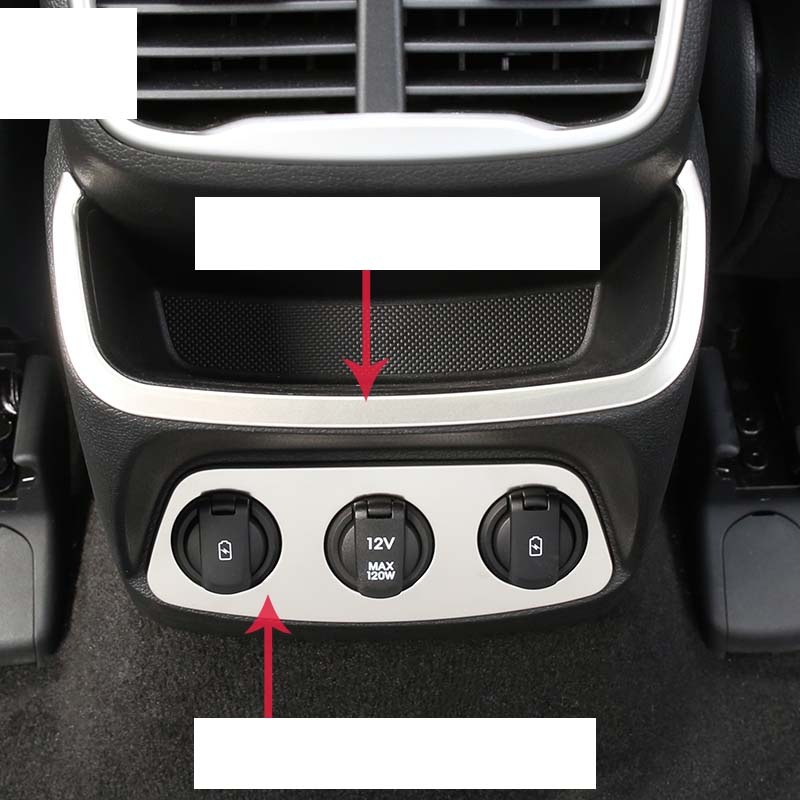 Lsrtw2017 Stainless Steel Car Rear Armrest Charging Port Circle Rear Storage Trims for Hyundai Santa Fe 4th Generation 2019 2020 in Interior Mouldings from Automobiles Motorcycles