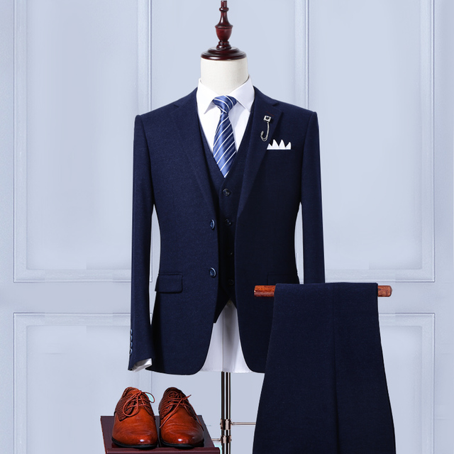 New Groom Tuxedos Mans Prom Suits Wedding Suit For Men Best Man Tuxedos Slim Fit Navy Blue Back Vent (Jacket+Pants+vest)