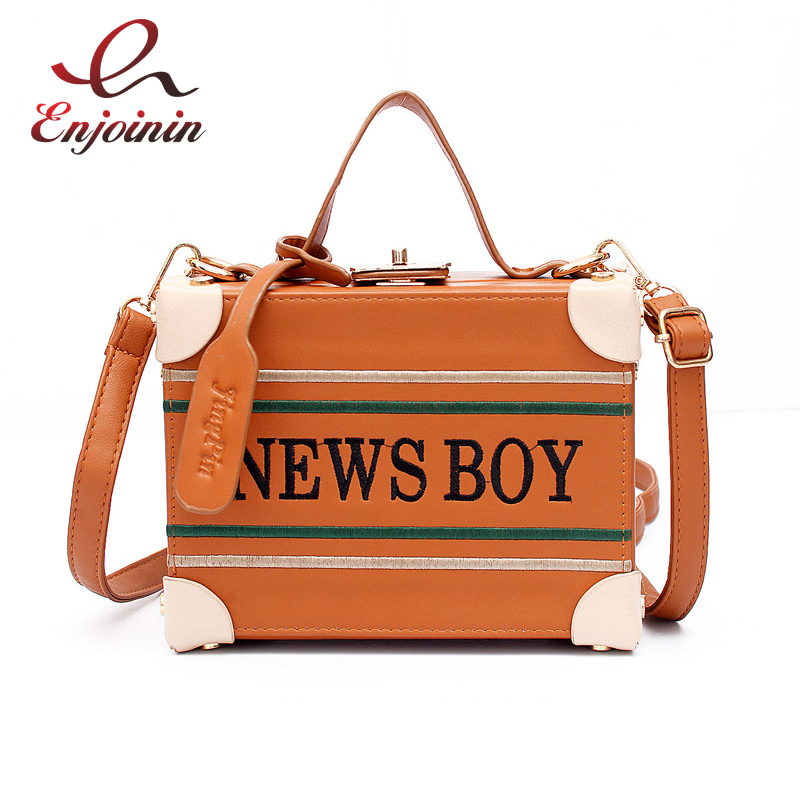 ФОТО Vintage brown embroidery letters personalized fashion box bags ladies handbags shoulder bag casual totes crossbody messenger bag