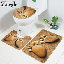 Zeegle Cobble Printed 3Pcs Bath Mat Set Anti-slip Bathroom Floor Mats Pedestal Rug Toilet Lid Cover Flannel Bathroom Rugs цена 2017