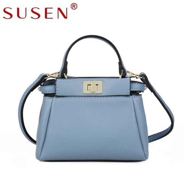 fd32ffd43 Susen الفاخرة النساء أكياس صغيرة مصمم قفل السيدات الصغيرة الفتيات كتف حمل حقيبة  يد عالية الجودة