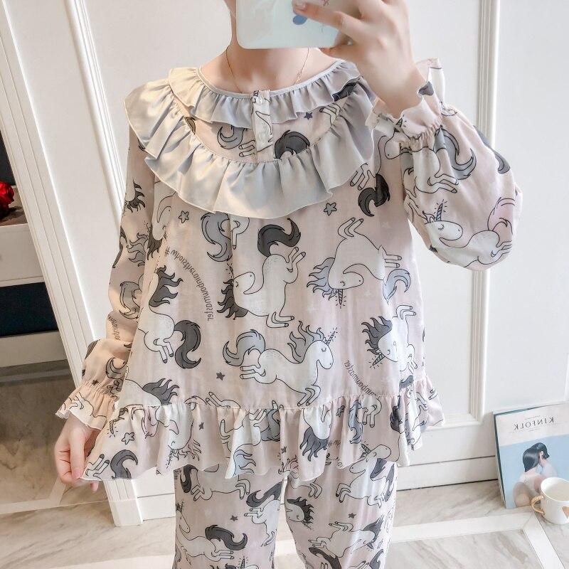 Princesse douce lolita pyjamas licorne version coréenne pur coton lotus feuille côté femmes doux pyjamas japonais MHH NK094
