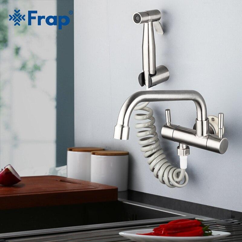 Robinet de cuisine Frap acier inoxydable mélangeur d'eau robinets mural cuisine Bidet robinet Double poignée robinet froid