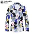 Мужские Хлопчатобумажных Рубашки Плюс Размер М-7XL 2017 Новая Мода Slim Fit Мужская С Длинным Рукавом Гавайский Цветочный Рубашка XK179