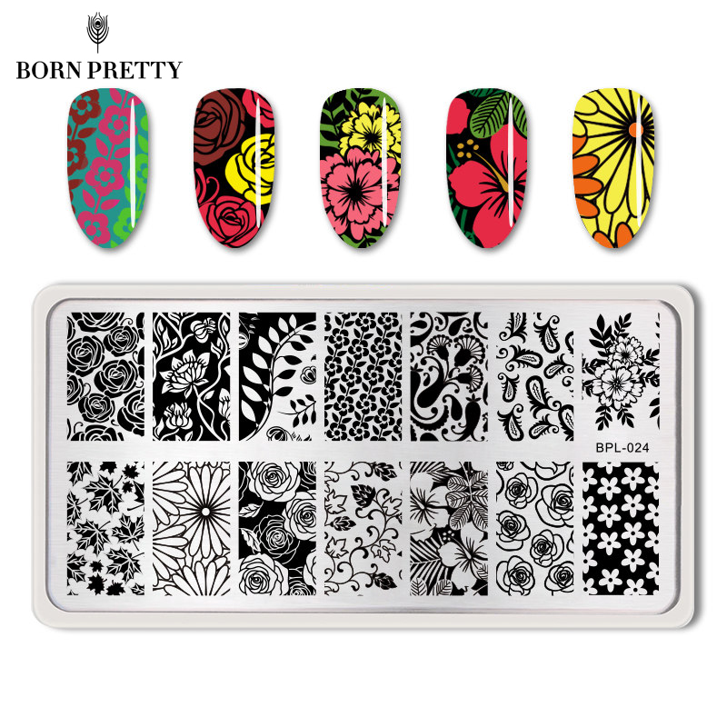 BORN PRETTY Neglepyntplader Lace Flower Animal Pattern Nail Art Stempel Stempler Skabelon Image Plate Stencil Nails Tool
