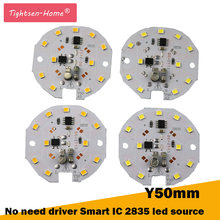 50MM round 220v led plate Source 5W 7W AC 220V No need driver Smart IC bulb lamp For DIY White LED Floodlight Spotlight 2835 PCB(China)