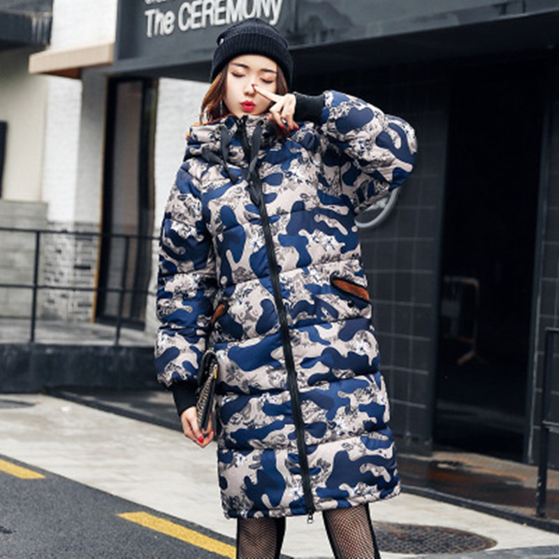 2017 Winter Thicker Womens Coats with Hooded Flannel Camouflage Cotton Zipper Jackets Long Maternity Clothes Wholesale S-3XL
