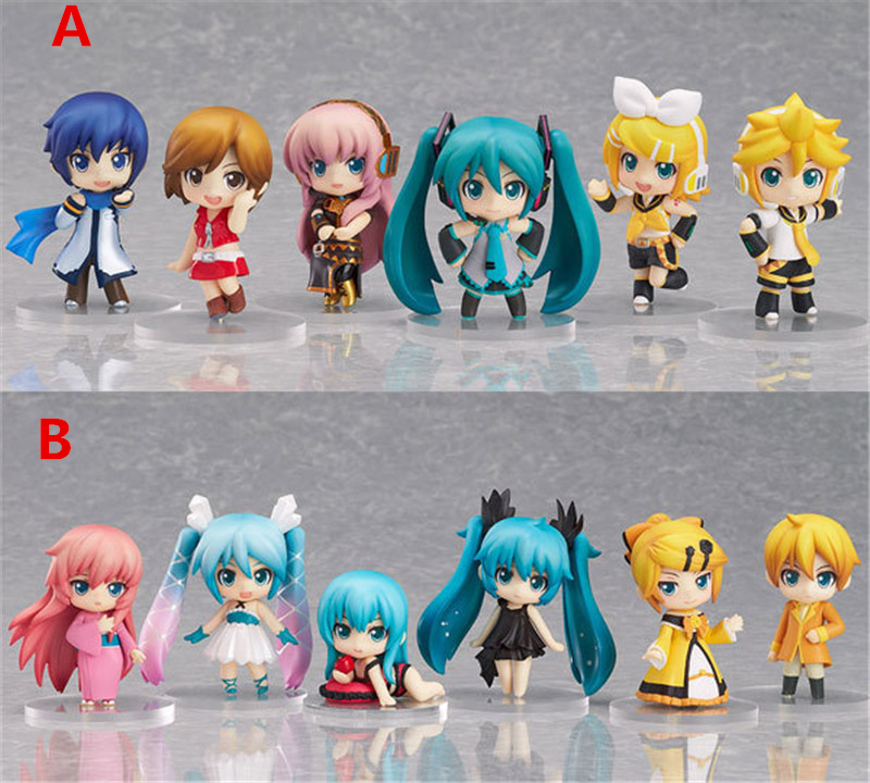 ФОТО anime hatsune miku family deep sea miku snow  brinquedos pvc action figure juguetes collectible model doll kids toys 6pcs/set