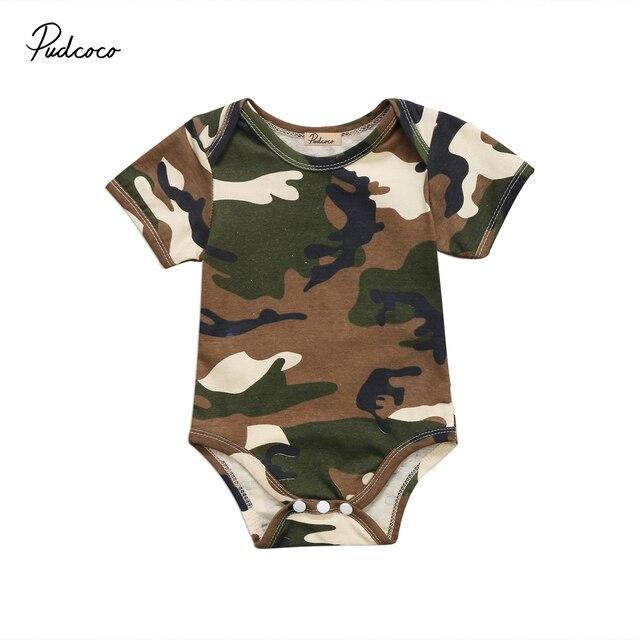 44d38ad84fbe Newborn Baby Boys Girls Romper Cute Infant Baby Army Green ...