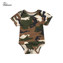 Newborn Baby Boys Girls Romper Cute Infant Baby Army Green C